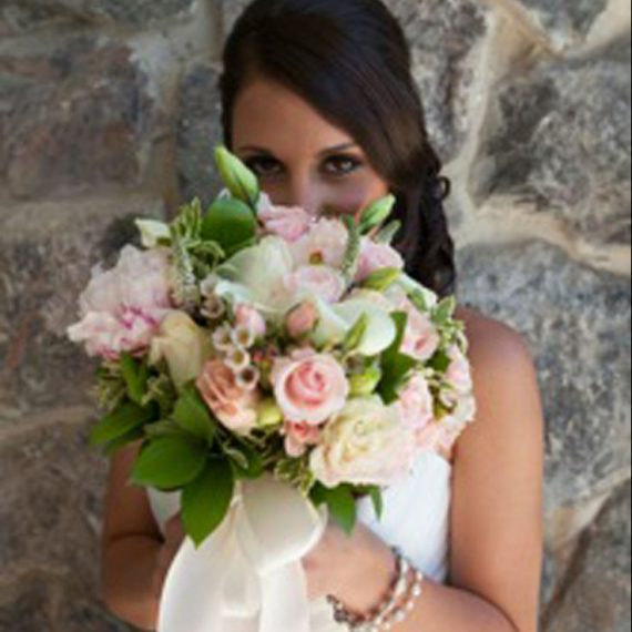 Connie the beutiful bride with her bouquet